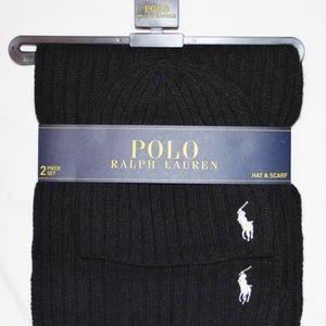 NEW Polo Ralph Lauren Lambswool Scarf & Beanie Hat